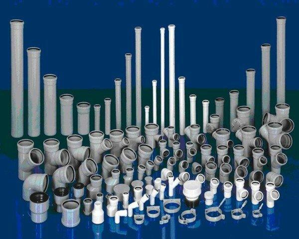 Фото пластиковых канализационных труб различных размеров и форм