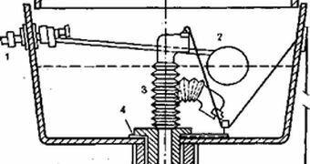 Гофра (на схеме под номером 3) - самый недолговечный механизм слива.