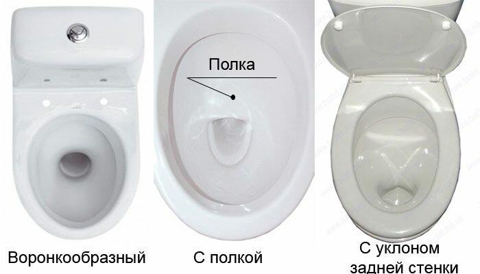 Интересная нам форма чаши справа. К сожалению, найти такой унитаз в продаже очень трудно.