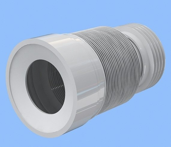 Гофра позволяет поставить унитаз под произвольным углом к трубе или на некотором расстоянии