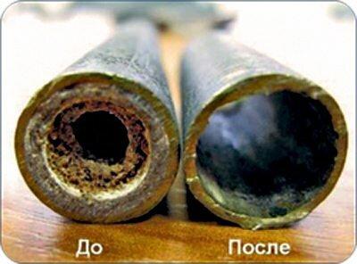 На фото – труба до и после промывки