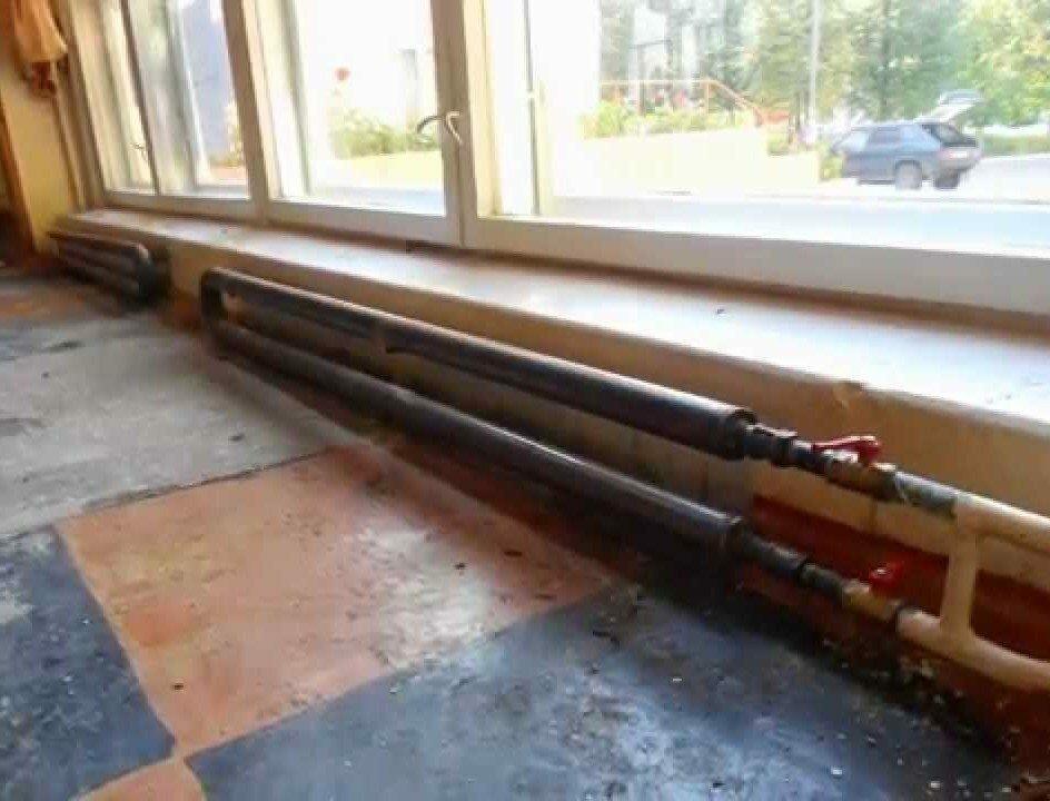 Пример системы отопления из стальных труб
