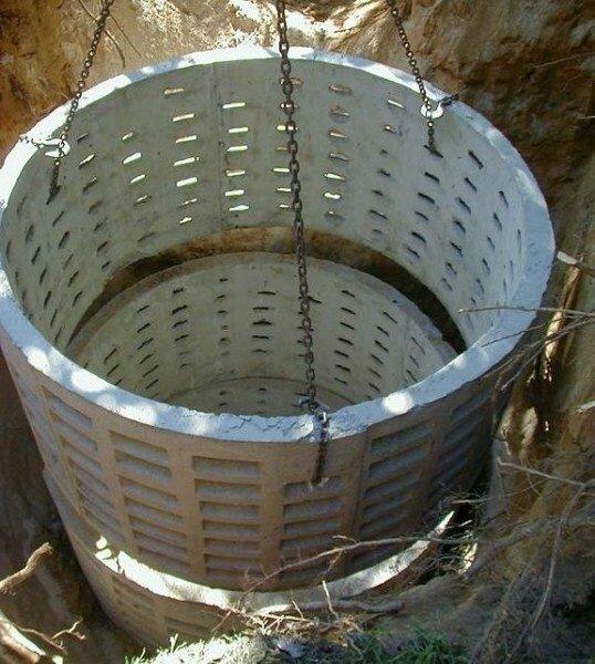 Сливная яма из перфорированных колец. Подойдет для обслуживания канализации дачного домика