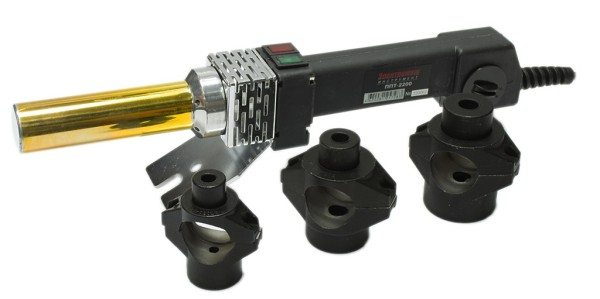 Утюг для пластиковых труб с цилиндрической платформой и соответствующими насадками